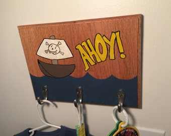 "Kids Room Pirate Ship ""Ahoy!"" Wall Hooks"
