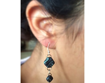 Polymer Clay Dangle Earrings: Colored Light Blue and Black Marble