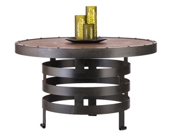 Coffee Table Round Industrial Vintage Wooden Iron Spiral Design Wood Top Table