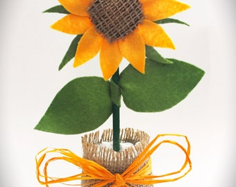 Handmade felt sunflower