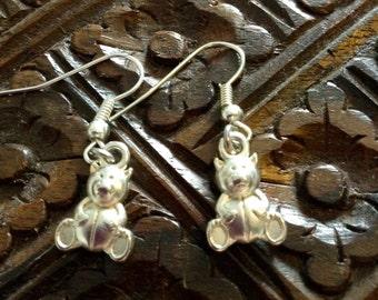 Tibetan Silver Teddy Bear Earrings