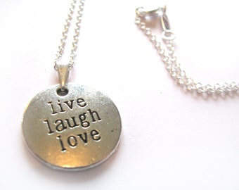 Live Laugh Love 925 Sterling Silver Necklace | Inspirational Necklace Live Laugh Love Necklace Live Love Laugh Love Life Charm Necklace Gift