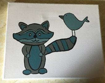 Baby raccoon and bird nursery wall art