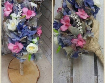 Silk Wedding Bouquet, Hydranger and Orchids, Bespoke design, Diamante detail and Hesian and Twine handle