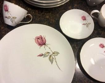 36-PC Johann Haviland Bravaria Dinnerware Dish Set Rose Pattern with Gold Leafing