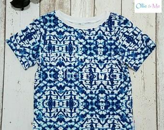 Handmade 'Blue Kaleidoscope' T-shirt