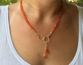 Orange carnelian necklace, Carnelian necklace, Orange gold necklace, Carnelian gemstone, Orange gemstone, Orange beads, Carnelian beads,