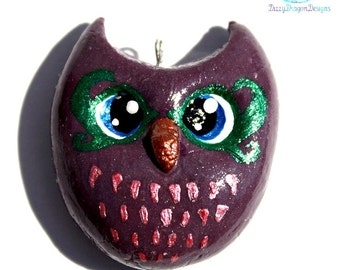 Cute purple owl charm, jewelry, necklace, pendant, key chain, handmade, cold porcelain
