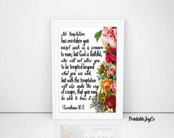 1 Corinthians 10:13 Christian Printable 8 x 10 Instant Download Bible Verse Printable Inspirational Printable