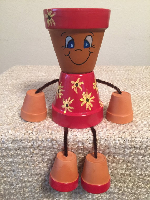 Items Similar To Clay Pot People Sunflower Girl On Etsy
