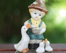 Shabby Chic Vintage German Hummel Style Hand-Painted Porcelain Bisque Figurine of Young Boy Feeding Geese