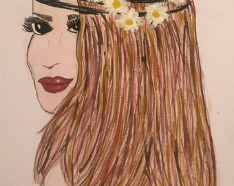 Hand drawn / watercolour painted woman