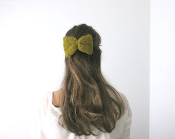 Hand Knit HAIR BOW, Hair Bow elastic band, Buckle Bow, Snap Clip Hair Accessory, Brooch Bow, Mustard Bow, knit, gift under 20, ready to ship