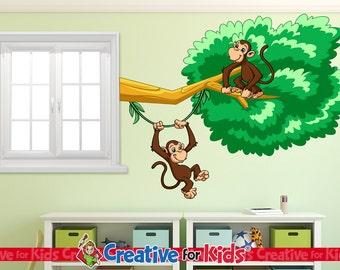 Monkey Wall Decal, Jungle Wall Decal, Safari Wall Decal, Nursery Wall Decal, Baby Wall Decal, Kids Wall Decal - 1006