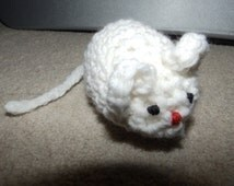 Crochet Mouse (White, Pink, or Blue)