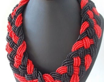 Bead Necklace Jewelry Red Black Bead Necklace