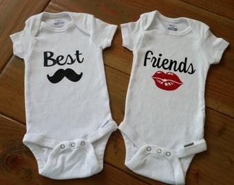 Best Friend Twin Onesies with Name on Each Onesie
