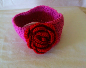 Rose crocheted baby headband