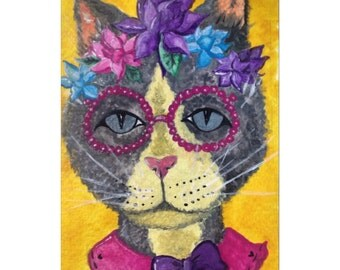 Small postcard sized colourful acrylic painting of a funky, hipster cat with glasses. Can be framed.