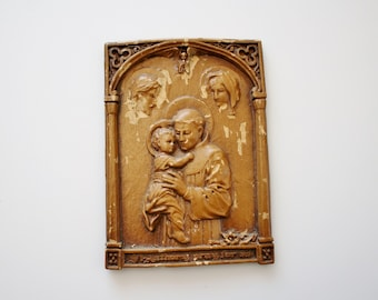 Vintage Saint Anthony Pray For Us Religious Plaque - Ornate Carved Barwood Plaque of St. Anthony of Padua