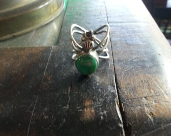 1970's Green Turquoise Spider Ring