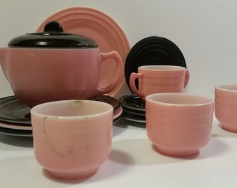 RARE Hazel Atlas Pink and Black Little Hostess Tea Set