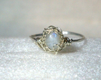 Sterling silver wire &Rainbow Moonstone Ring
