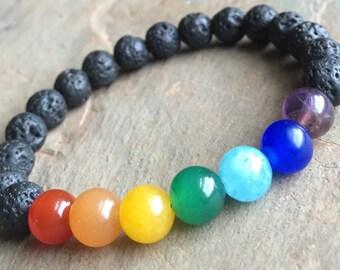 8mm 7 Chakras Bracelet, Natural Stone Bracelet, Beaded Elastic Bracelet, Volcanic Lava Bracelet, Carnelian Aventurine Jade Amethyst Agate