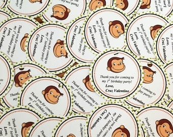 Set of 12 Curious George Thank You Tags