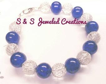 Royal Blue & Silver Beaded Bracelet