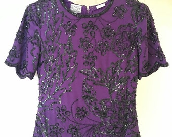 Vintage Stenay Purple and Black Sequin Blouse Size PP