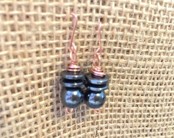 Copper with hematite stone earrings