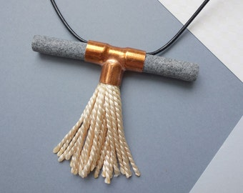 Necklace with copper, polymer clay and tassel