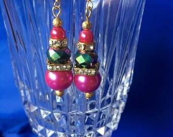 Dainty Pink Sparkle Earrings
