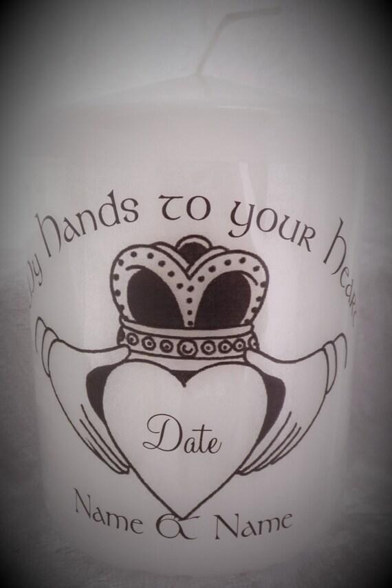 Personalised Wedding Gift Ireland : InchPersonalised Candle Irish Claddagh Wedding Gift (Group 2)