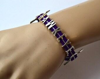 HAWKEYE Purple and Silver Leather Bracelet - Clint Barton, Avengers, Marvel, Archer, Fan Jewelry