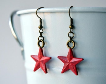 Red Star Earrings, Hand Painted, Bucky Barnes / The Winter Soldier Inspired