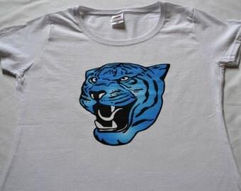 Blue tiger t-shirt. Tiger. Ladies tiger t-shirt. Blue tiger.