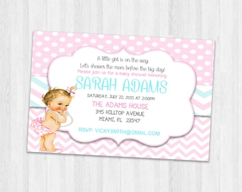 Girl Baby Shower Invitations, Party Invites Printable baby shower invitation, New Baby Invitation