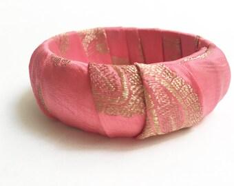 Sari Silk Bangle - Peach