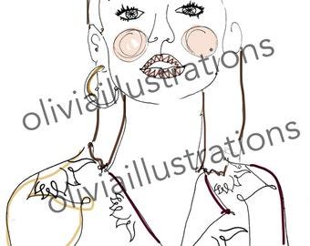 Lily Collins Illustration