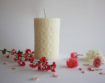 "Handmade Soy wax candles with "" Flower of Life"", pillar candles, gift for him, gift for her"