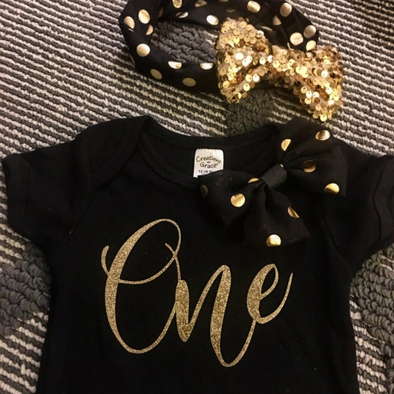 Baby's First Birthday Black and Gold Outfit