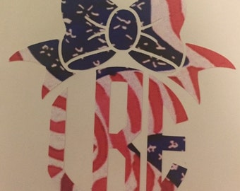 Stars and stripes monogram with bow
