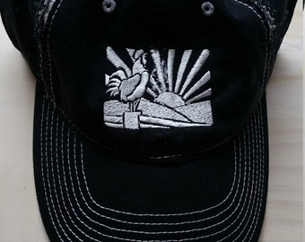Distressed Rooster Crowing Baseball Cap