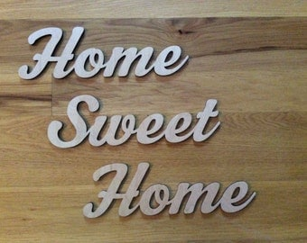 Home Sweet Home laser cut wood wall decor.