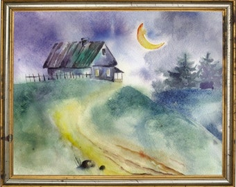 Painting night watercolor,painting children,children's watercolors,house watercolors,moonlight night,moon,watercolor,wall decor,art night