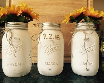 Distressed Mason Jars - set of 3 - custom made to order color with wedding dates, shower dates, initials, etc...