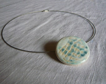 Ceramic pendant with metal Necklace (Silver)