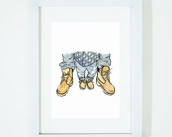 Little Steps, Big Steps, Father and Son, Twinning, Illustration Art Print, Room decor, Nursery, Father, Baby, Wall Art, Poster